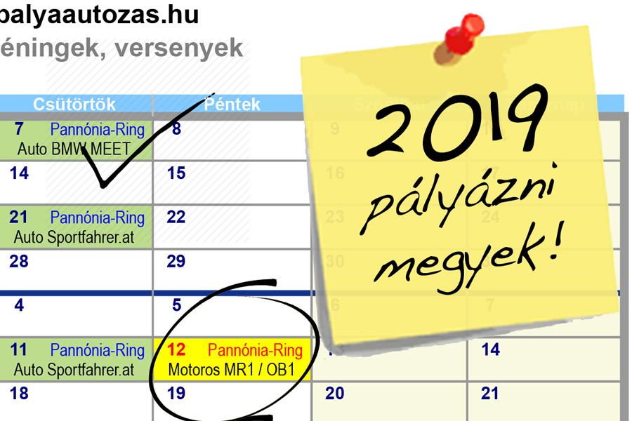 2019. – Motoros Versenynaptár